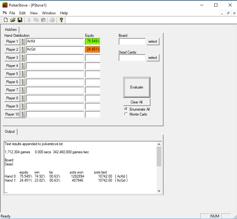 Использование PokerStove для расчета Эквити в покере